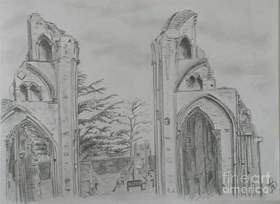 Drawing - Glastonbury Abbey by Jeanette Hibbert