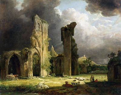 Glastonbury Abbey With The Tor Art Print by George Arnald