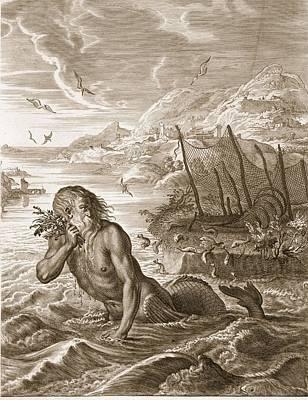 Glaucus Turned Into A Sea-god, 1731 Art Print by Bernard Picart