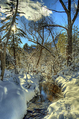 Gleaming Sun On Snowy Streambed Art Print by K D Graves