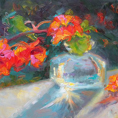 Tali Painting - Gleaning Light Nasturtium Still Life by Talya Johnson