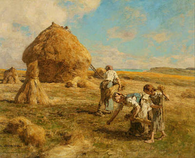 Gleaning Painting - Gleaning Women by Leon-Augustin Lhermitte