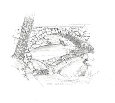 Nature Center Drawing - Gleason Falls Bridge by Nan McCarthy