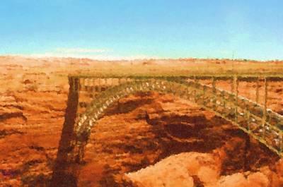 Page Bridge Digital Art - Glen Canyon Bridge In Page Arizona Painting by Asbjorn Lonvig