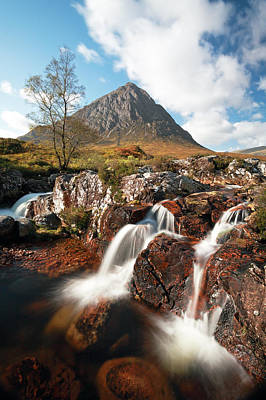 Photograph - Glen Etive Mountain Waterfall by Grant Glendinning