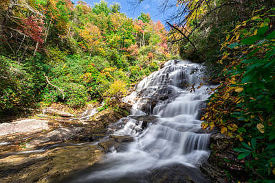 Serene Photograph - Glen Falls In North Carolina by Andres Leon