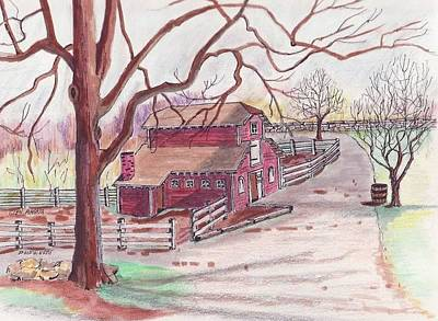 Glen Magna Animal Barn Art Print