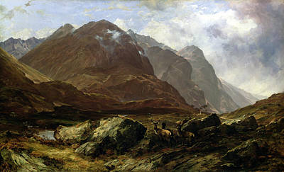 Wildlife Landscape Painting - Glencoe, 1864 by Horatio McCulloch