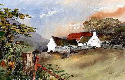 Mixed Media - Glencree Farmhouse Wicklow by Val Byrne