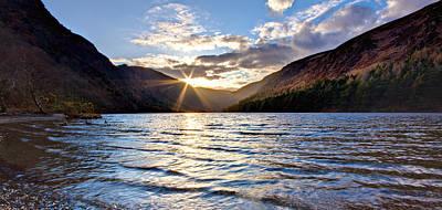 Upper Lake Photograph - Glendalough Upper Lake At Sunset - Ireland by Barry O Carroll