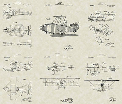 Flyers Art Drawing - Glenn Curtiss Aircraft Patent Collection by PatentsAsArt