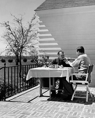 Tableware Photograph - Glenway Wescott And Somerset Maugham On A Porch by Serge Balkin