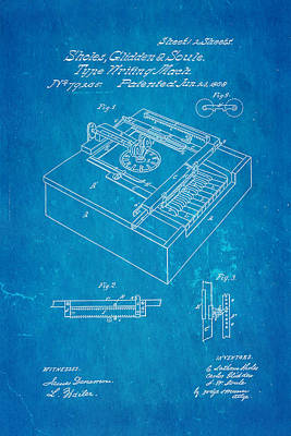 Typewriter Photograph - Glidden Type Writer Patent Art 1868 Blueprint by Ian Monk