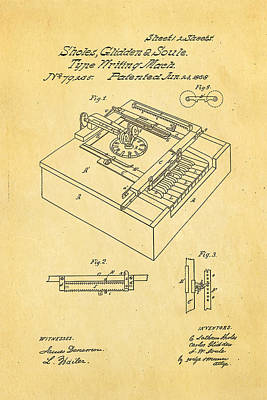 Glidden Type Writer Patent Art 1868 Print by Ian Monk