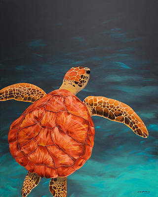 Green Sea Turtle Painting - Gliding Into The Turquoise by Matthew Haddaway