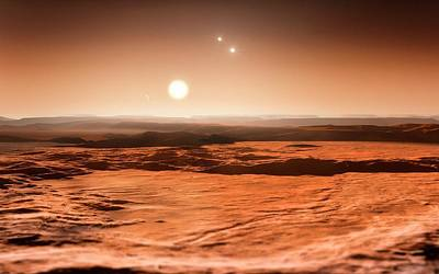 Exoplanet Photograph - Gliese 667 Triple-star System by Eso/m. Kornmesser