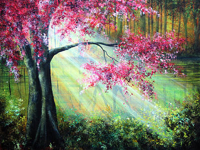 Sakura Painting - Glimmer by Ann Marie Bone