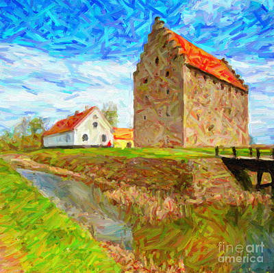 Sweden Digital Art - Glimmingehus Castle Painting by Antony McAulay