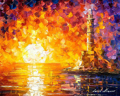 Glimpse To The Sea - Palette Knife Oil Painting On Canvas By Leonid Afremov Original