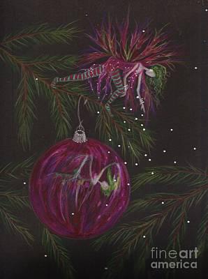 Pine Needles Drawing - Glitter Drop by Dawn Fairies