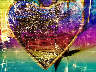Abstract Hearts Digital Art - Glitter Heart by Linda Sannuti