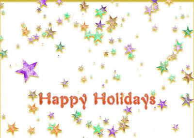 Digital Art - Glittering Holiday Stars by Gabriele Pomykaj
