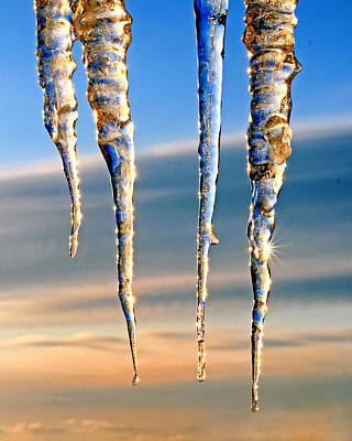Photograph - Glittering Icicles At Sunrise by Carolyn Derstine