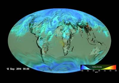 Gloabl Carbon Dioxide Sinks Art Print by Nasa's Scientific Visualization Studio/science Photo Library