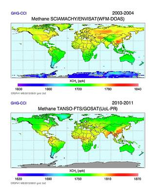 Transformed Photograph - Global Atmospheric Methane by University Bremen/european Space Agency