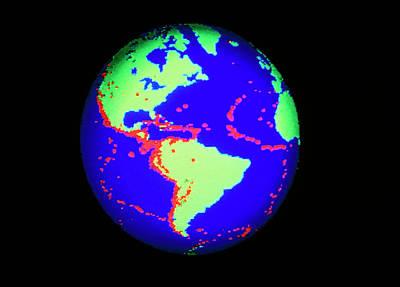 Global Distribution Of Large Earthquakes 1963-87 Art Print