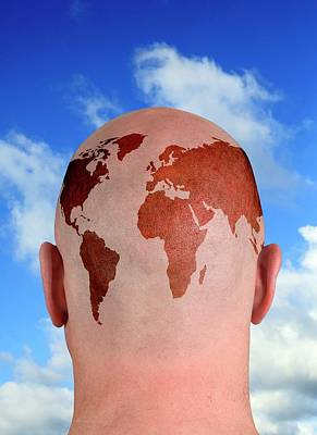 Human Head Photograph - Global Thinking by Victor De Schwanberg