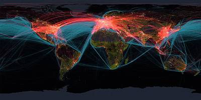 Global Transport Networks On Night Map Art Print by Noaa