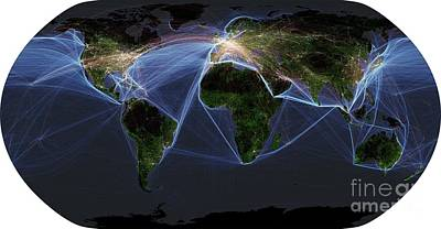 Global Transportation Map Art Print