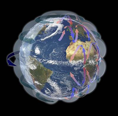 Coriolis Photograph - Global Winds, Satellite-based Diagram by Science Photo Library