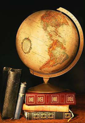 World Schooling Photograph - Globe And Books by Don Hammond