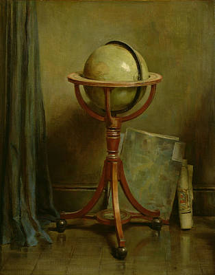 Maps Painting - Globe And Maps by Ernest Leopold Sichel