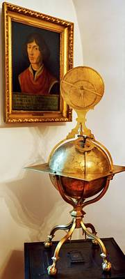 Globe And Portrait Of Copernicus Art Print