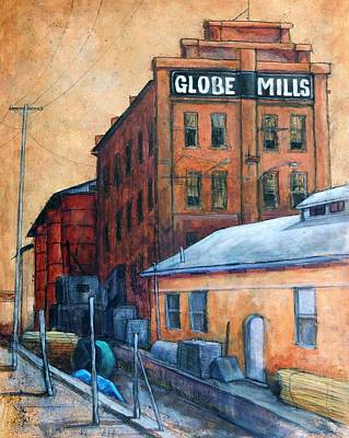 Old Mill Scenes Painting - Globe Mills by Candy Mayer