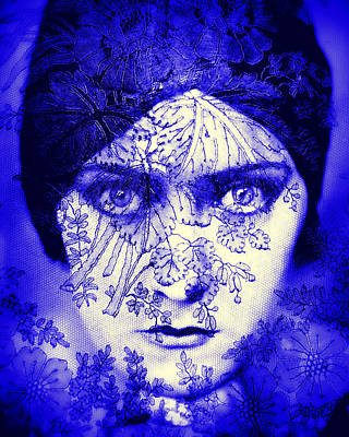 Gloria Digital Art - Gloria Swanson Behind Black Lace by Rosie Mills