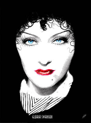 Gloria Drawing - Gloria Swanson - Edith Piaf by Quim Abella