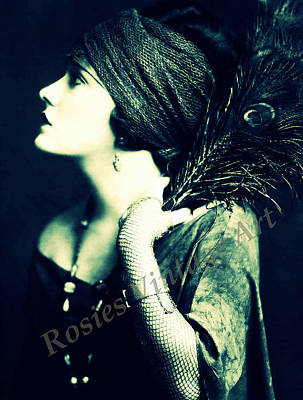 Gloria Digital Art - Gloria Swanson With Peacock Feather by Rosie Mills