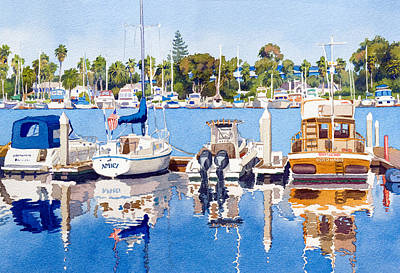 Yachts Painting - Glorietta Bay Marina by Mary Helmreich
