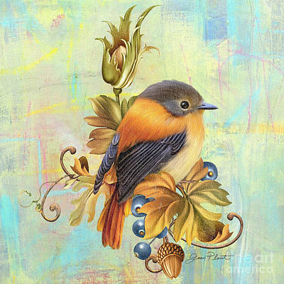 Glorious Birds On Aqua-a2 Art Print by Jean Plout