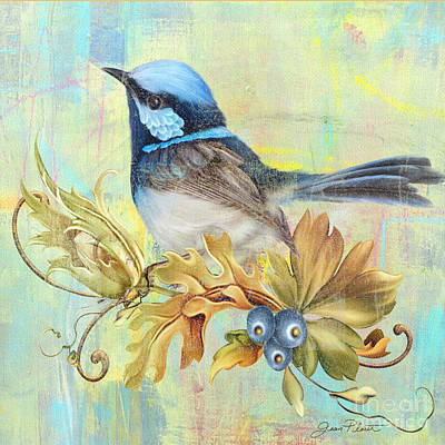 Glorious Birds On Aqua-b2 Original by Jean Plout