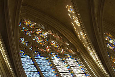 Photograph - Glorious Colorful Sunlight - A Stained Glass Church Window In A Royal Chapel Paris France by Georgia Mizuleva