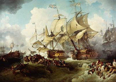 Fleet Painting - Glorious First Of June Or Third Battle Of Ushant Between English And French by Anonymous