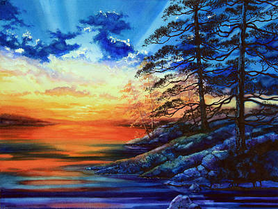 Northern Ontario Painting - Glorious Lake Sunset by Hanne Lore Koehler