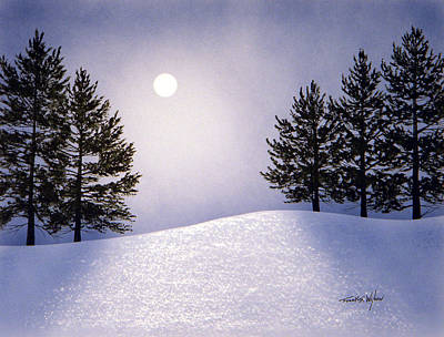 Snowscape Painting - Glorious Night by Frank Wilson