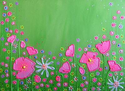 Poppies Painting - Glorious Pink Summer by Angie Livingstone
