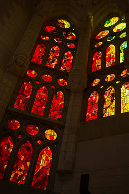 Photograph - Glorious Reds And Yellows - Sagrada Familia Stained Glass Windows by Georgia Mizuleva